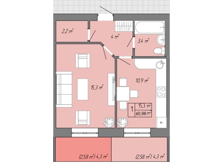 Планування 1-кімнатної квартири в ЖК Акварель 2 40.96 м², фото 202715