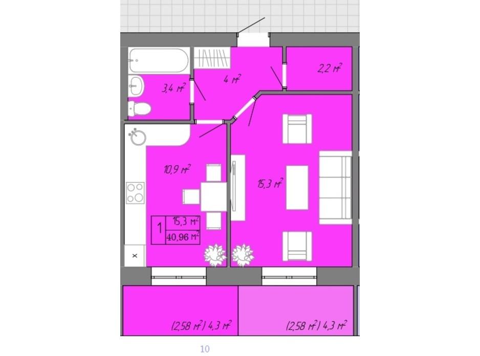 Планування 1-кімнатної квартири в ЖК Акварель 2 40.96 м², фото 202716