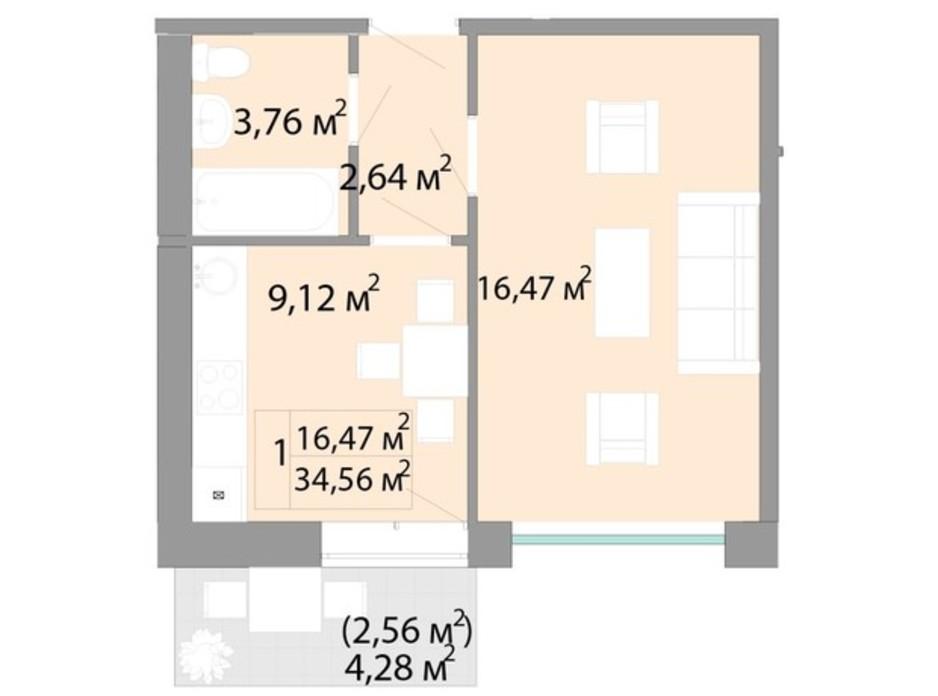 Планування 1-кімнатної квартири в ЖК Акварель 2 34.56 м², фото 202729