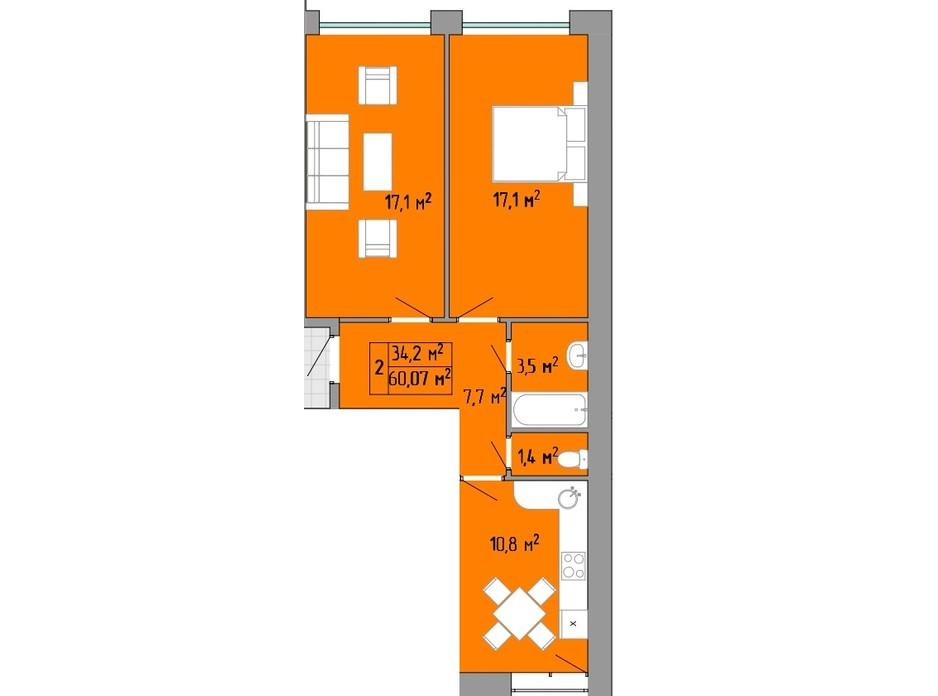 Планування 2-кімнатної квартири в ЖК Акварель 2 60.07 м², фото 202733