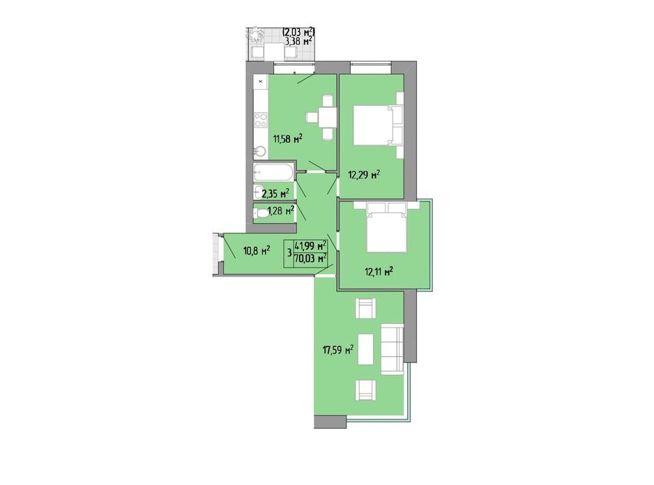 Планування 3-кімнатної квартири в ЖК Акварель 2 70.03 м², фото 202763