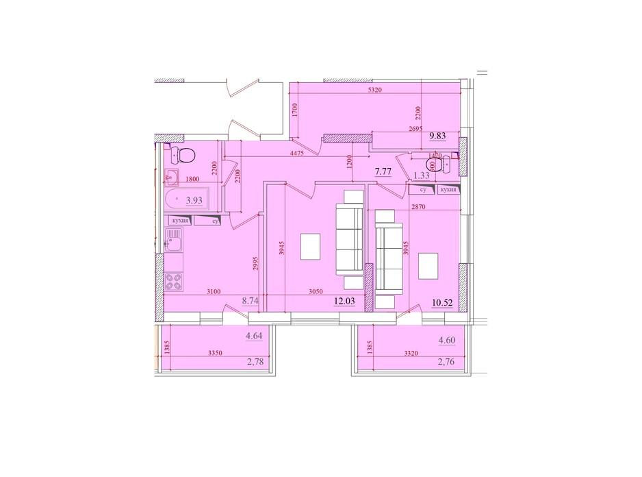 Планування 2-кімнатної квартири в ЖК Акварель 2 55.98 м², фото 202909