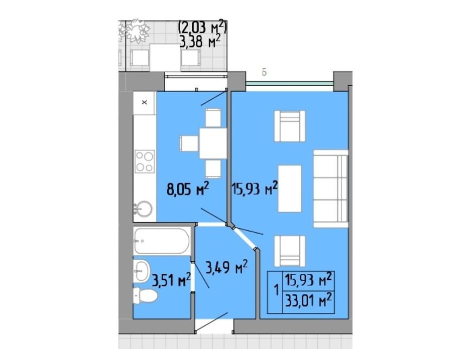 Планування 1-кімнатної квартири в ЖК Акварель 2 33.01 м², фото 202919