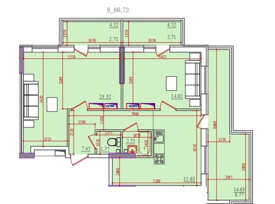 Планування 3-кімнатної квартири в ЖК Акварель 2 66.72 м², фото 202927
