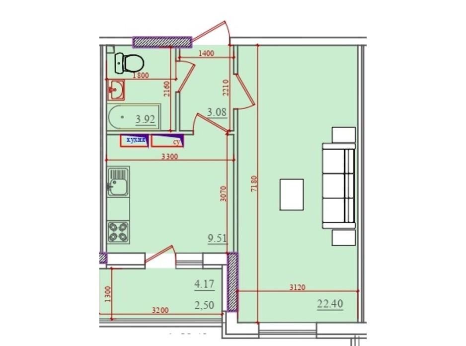 Планування 1-кімнатної квартири в ЖК Акварель 2 39.42 м², фото 202930