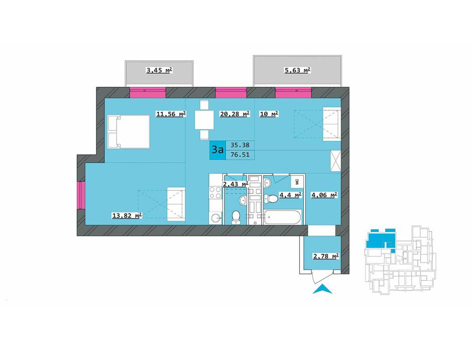 Планировка 3-комнатной квартиры в ЖК Столичный 76.07 м², фото 203109