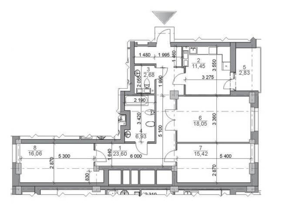 Планировка 3-комнатной квартиры в ЖК iQ-House (Айкью Хаус) 98.11 м², фото 203311