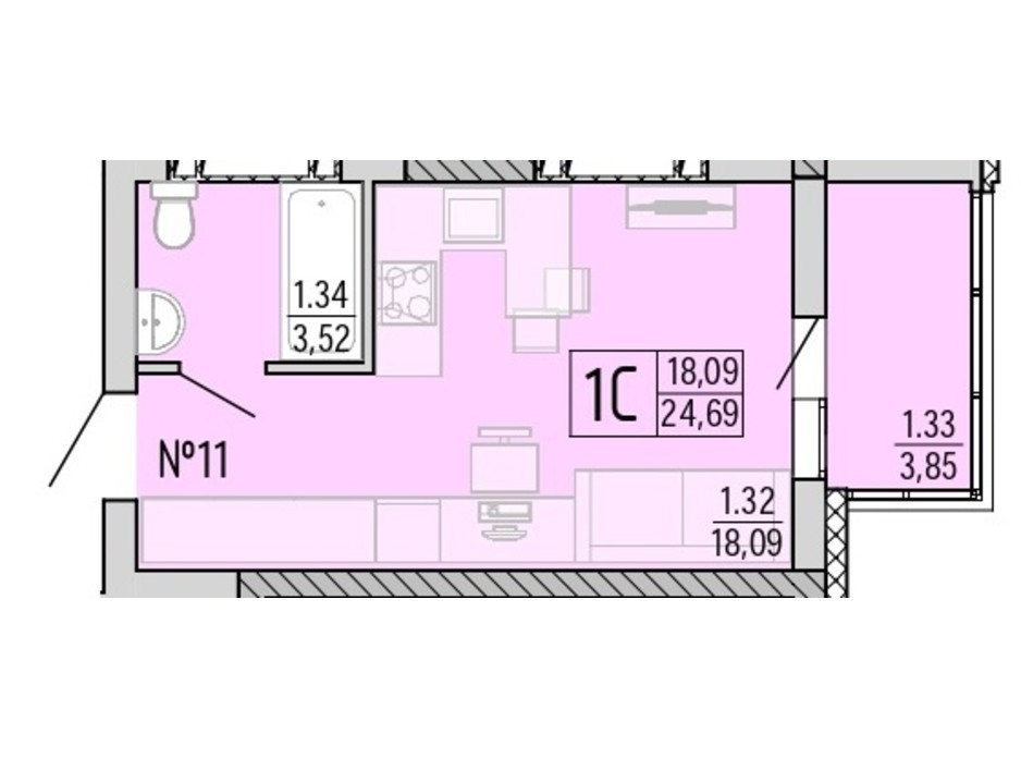 Планування квартири студії в ЖК Акварель 4 24.69 м², фото 203440