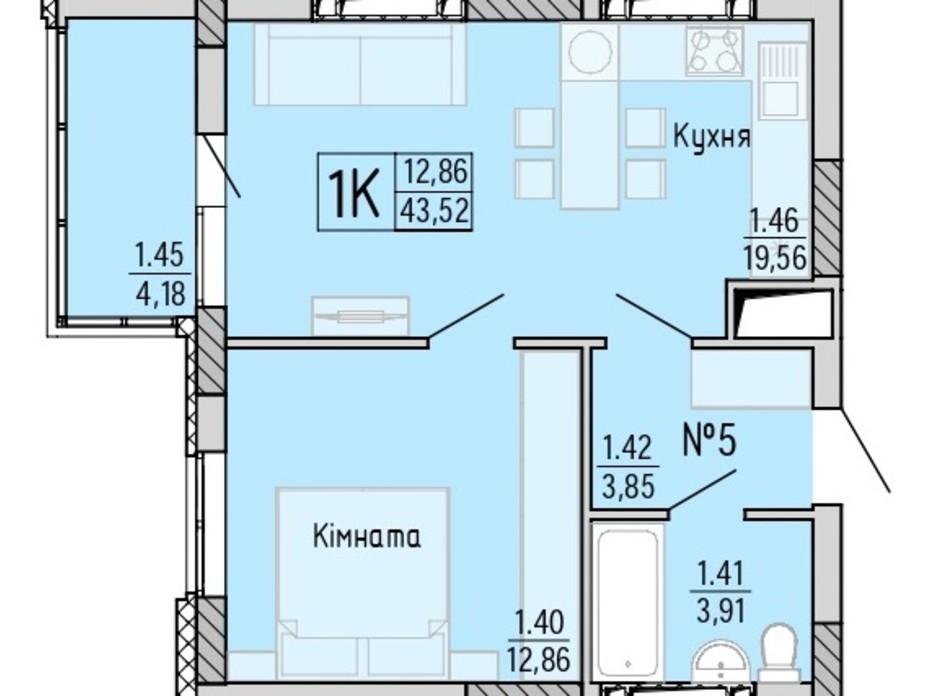 Планування 1-кімнатної квартири в ЖК Акварель 4 43.52 м², фото 203442