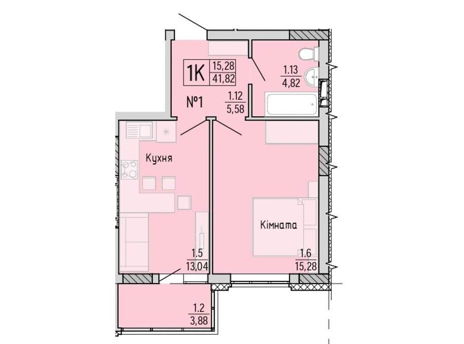 Планування 1-кімнатної квартири в ЖК Акварель 4 41.82 м², фото 203443