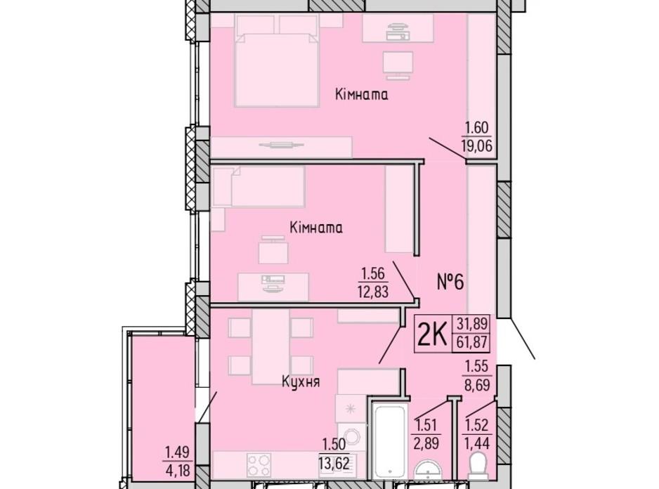 Планування 2-кімнатної квартири в ЖК Акварель 4 61.87 м², фото 203444