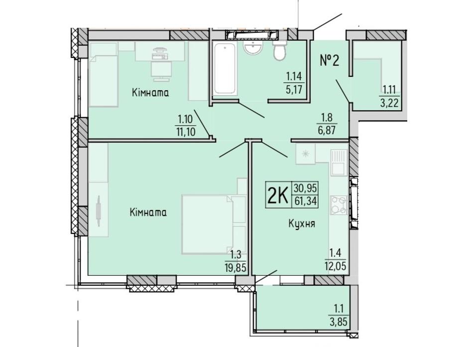 Планування 2-кімнатної квартири в ЖК Акварель 4 61.34 м², фото 203445