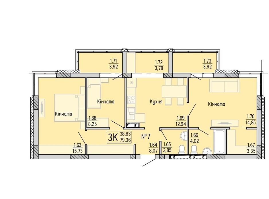 Планування 3-кімнатної квартири в ЖК Акварель 4 80.75 м², фото 203446