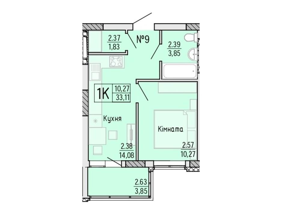 Планування 1-кімнатної квартири в ЖК Акварель 4 33.11 м², фото 203477