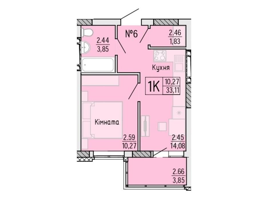 Планування 1-кімнатної квартири в ЖК Акварель 4 33.11 м², фото 203482