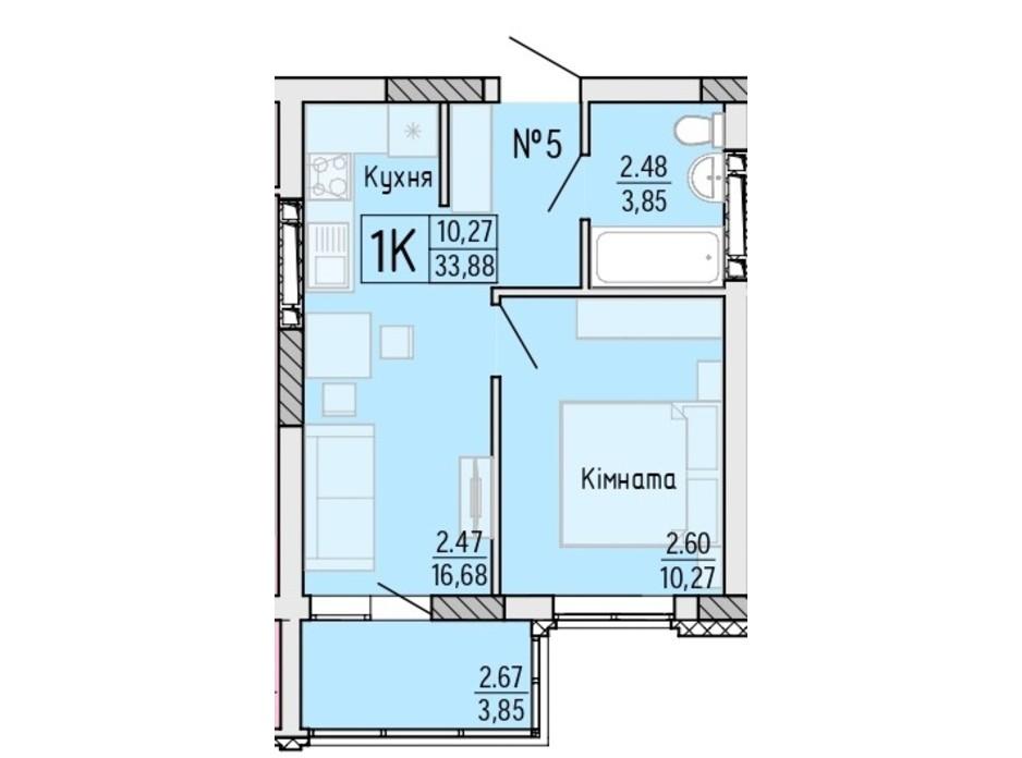 Планування 1-кімнатної квартири в ЖК Акварель 4 33.88 м², фото 203483
