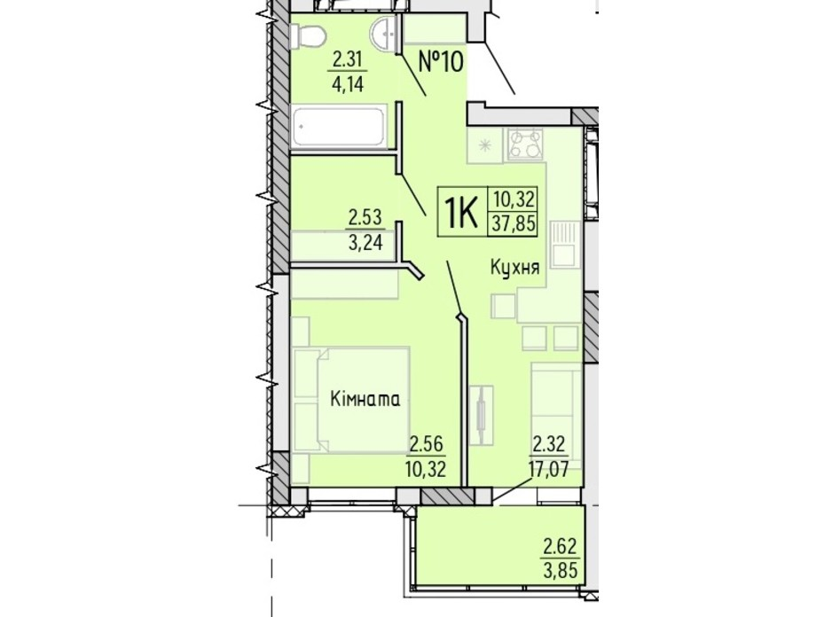 Планування 1-кімнатної квартири в ЖК Акварель 4 37.85 м², фото 203488