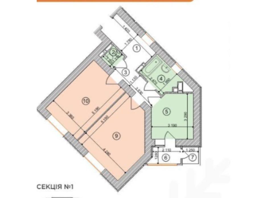 Планування 2-кімнатної квартири в ЖК Голосіївська Долина 66.81 м², фото 203504