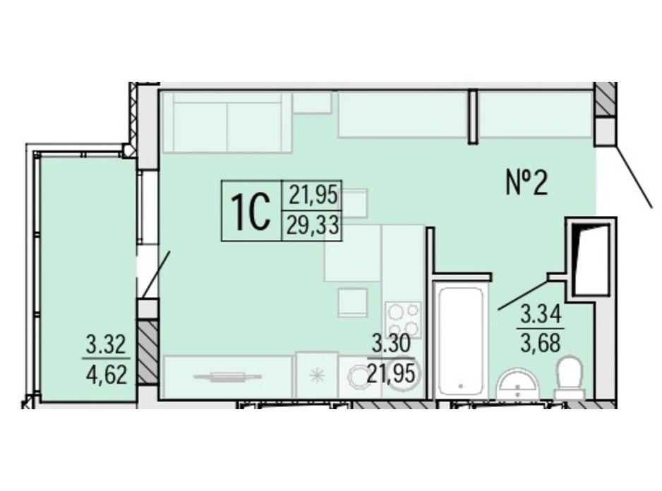 Планування квартири студії в ЖК Акварель 4 29.35 м², фото 203509