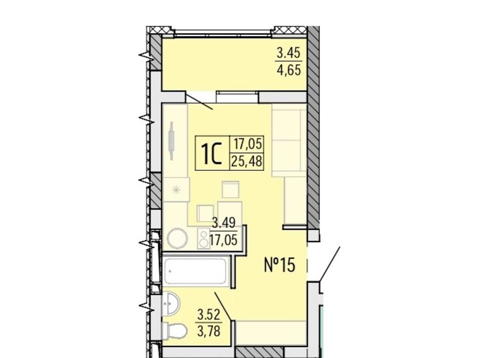 Планировка квартиры студии в ЖК Акварель 4 25.48 м², фото 203510