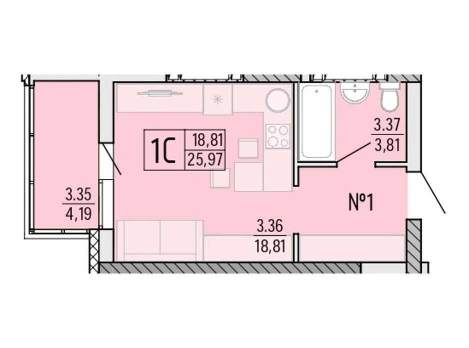 Планування квартири студії в ЖК Акварель 4 25.97 м², фото 203513