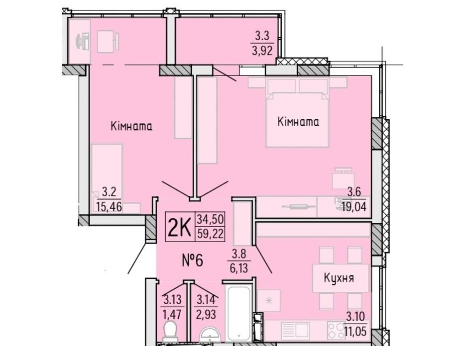 Планування 2-кімнатної квартири в ЖК Акварель 4 59.22 м², фото 203515