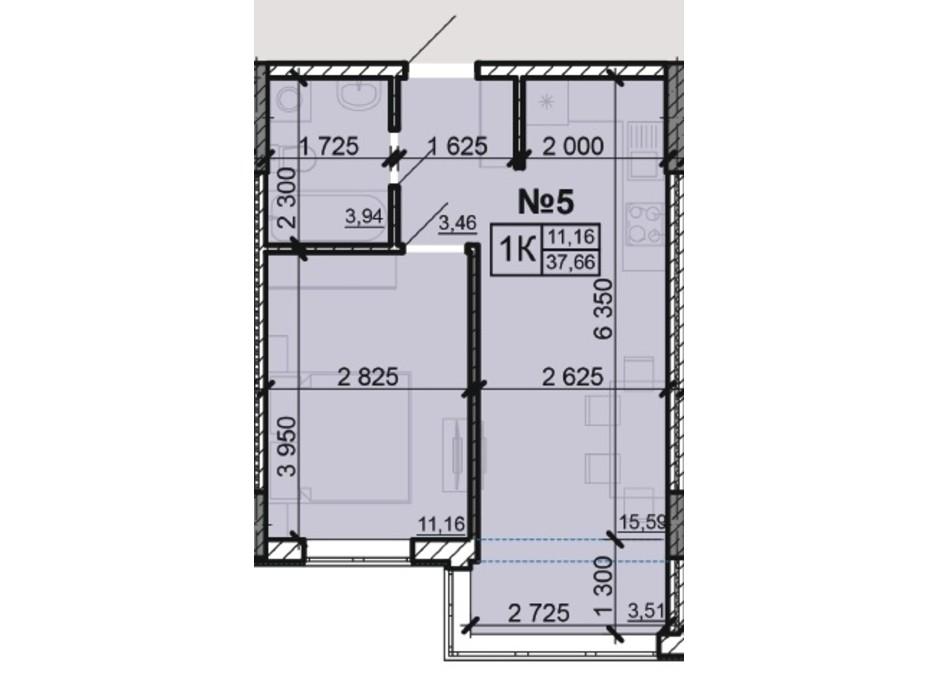 Планування 1-кімнатної квартири в ЖК Акварель 8 37.66 м², фото 203795