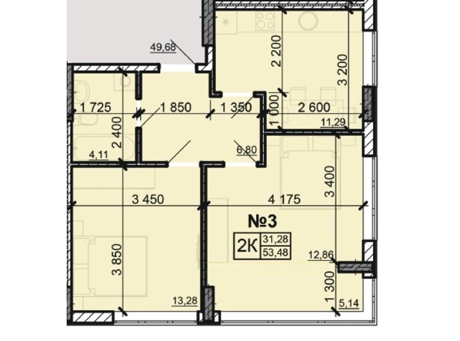 Планування 2-кімнатної квартири в ЖК Акварель 8 53.48 м², фото 203797