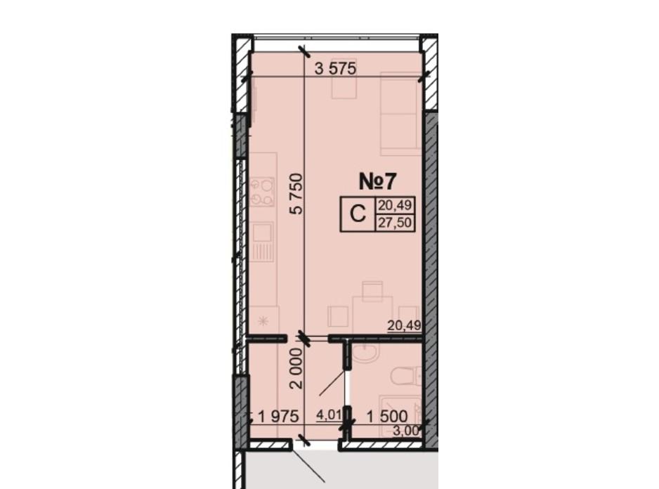 Планування квартири студії в ЖК Акварель 8 27.5 м², фото 203798