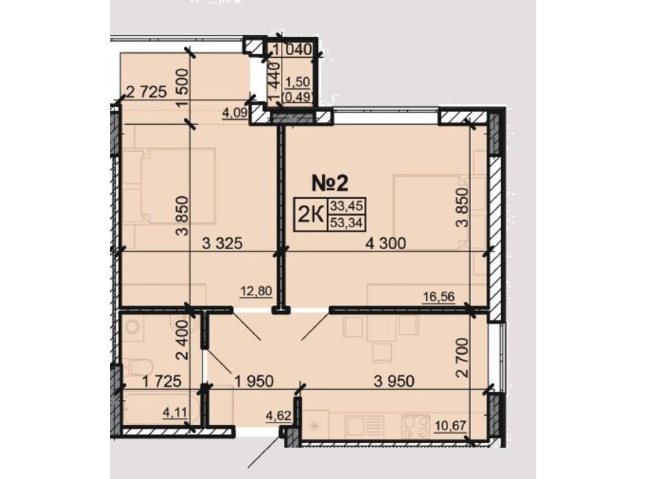 Планування 2-кімнатної квартири в ЖК Акварель 8 53.34 м², фото 203799