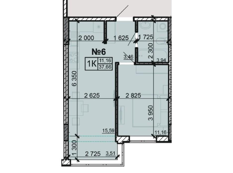 Планування 1-кімнатної квартири в ЖК Акварель 8 37.66 м², фото 203800