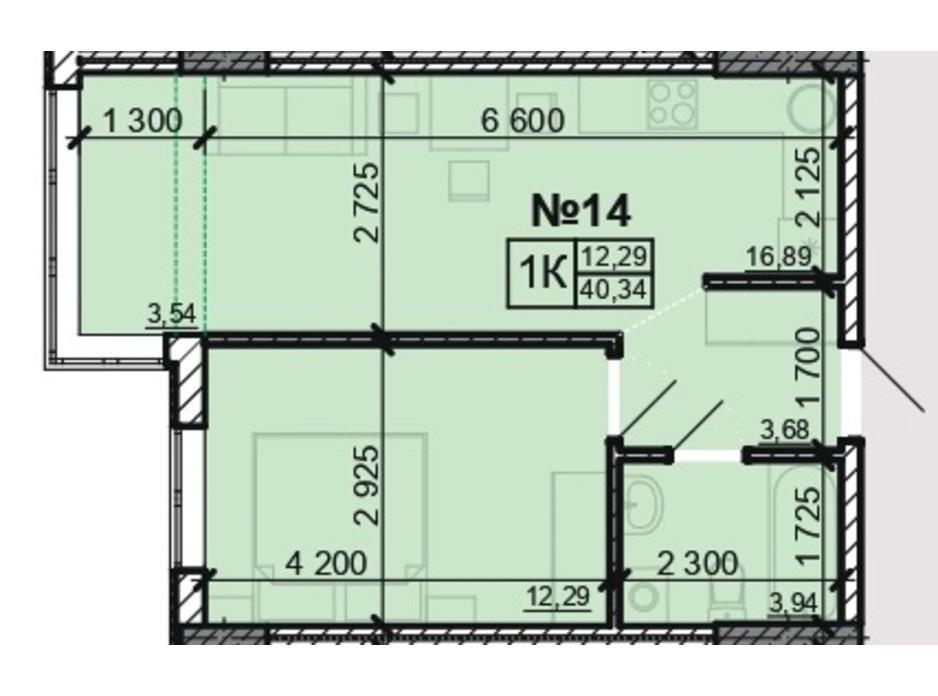 Планування 1-кімнатної квартири в ЖК Акварель 8 40.34 м², фото 203805