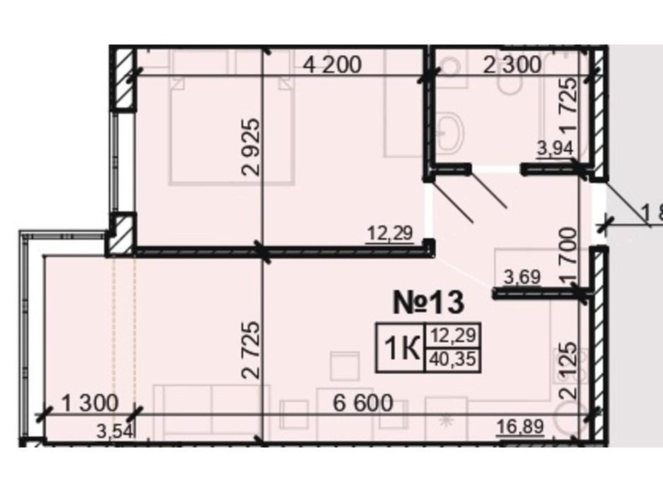Планування 1-кімнатної квартири в ЖК Акварель 8 40.35 м², фото 203806
