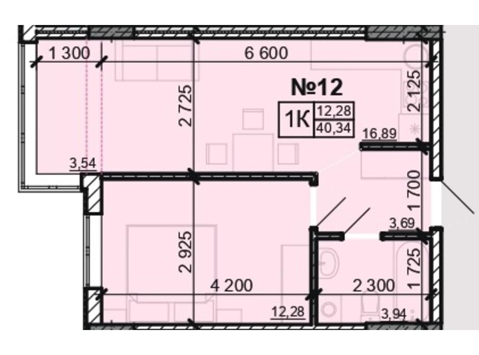Планування 1-кімнатної квартири в ЖК Акварель 8 40.34 м², фото 203809