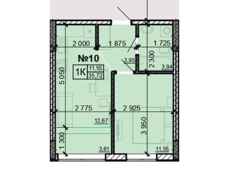 Планування 1-кімнатної квартири в ЖК Акварель 8 35.72 м², фото 203810