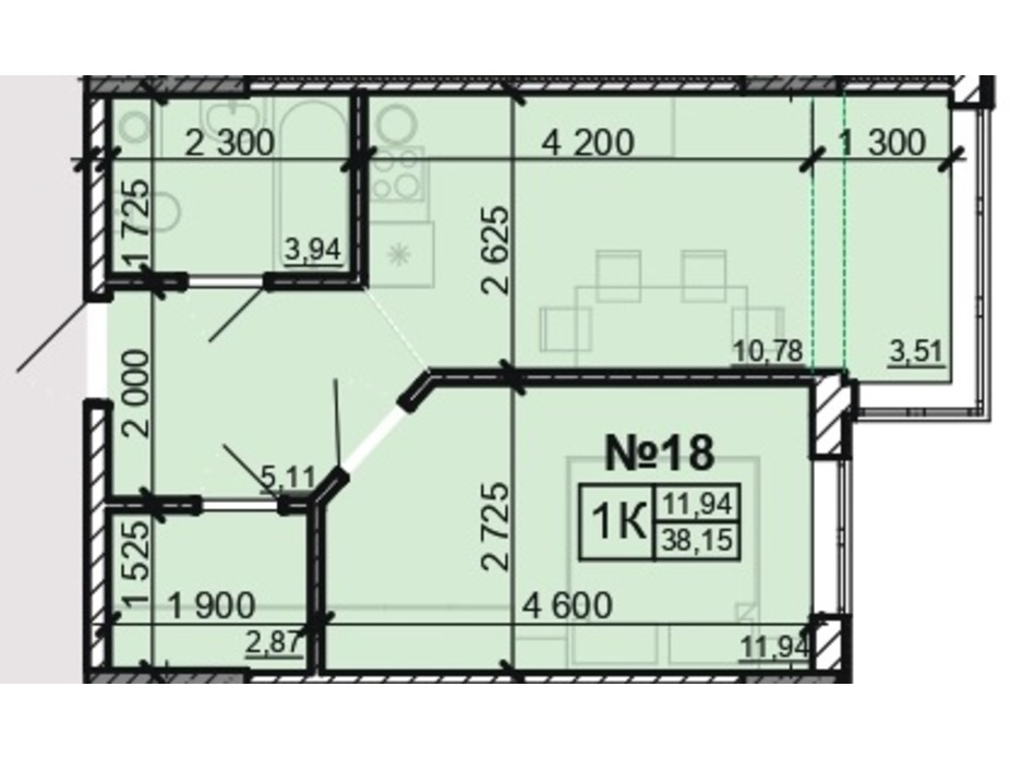 Планування 1-кімнатної квартири в ЖК Акварель 8 38.15 м², фото 203811