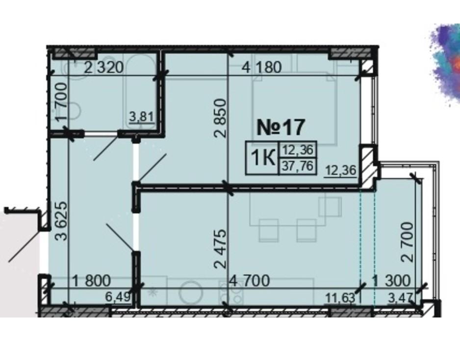 Планування 1-кімнатної квартири в ЖК Акварель 8 37.76 м², фото 203812