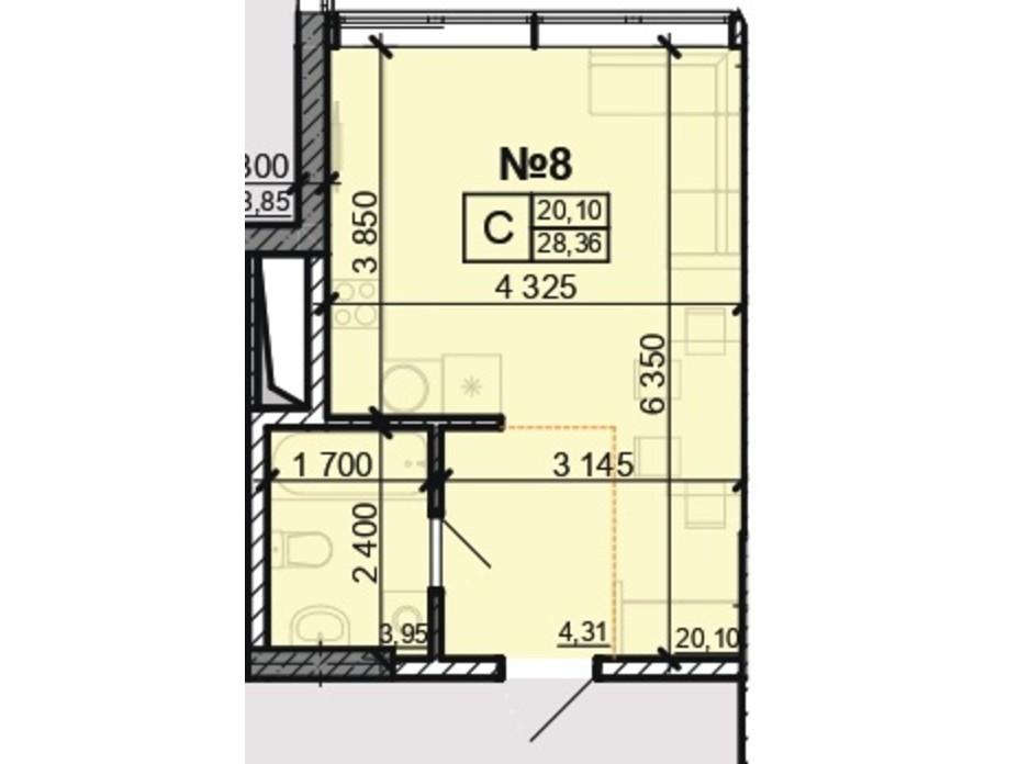 Планування квартири студії в ЖК Акварель 8 28.36 м², фото 203814