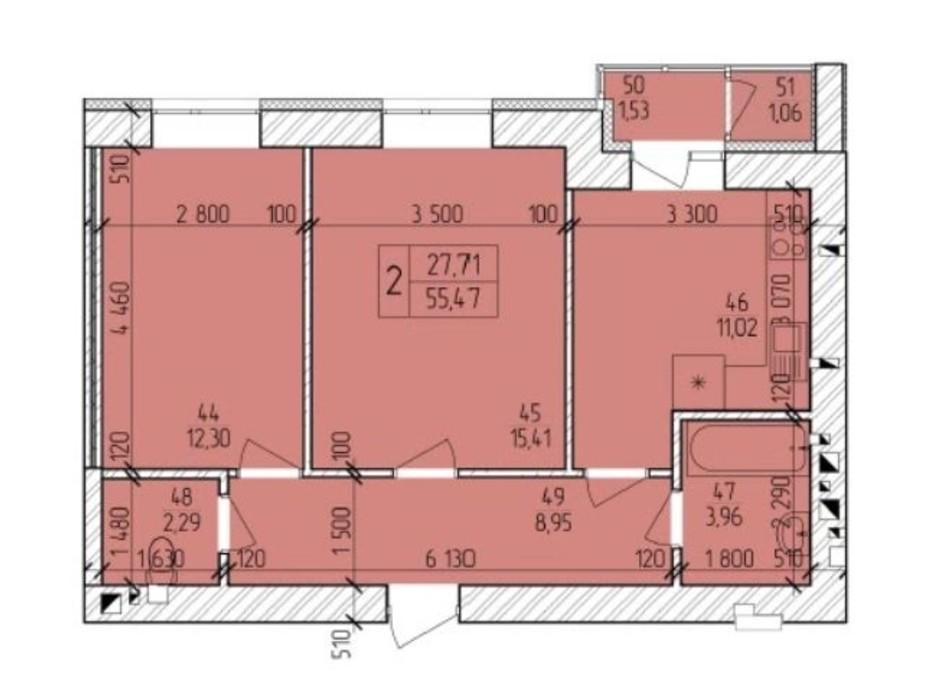 Планування 2-кімнатної квартири в ЖК Ранкове Family 55.47 м², фото 203822