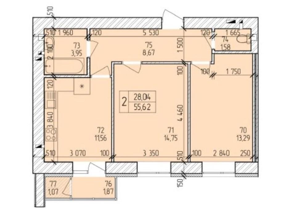 Планування 2-кімнатної квартири в ЖК Ранкове Family 57.79 м², фото 203825