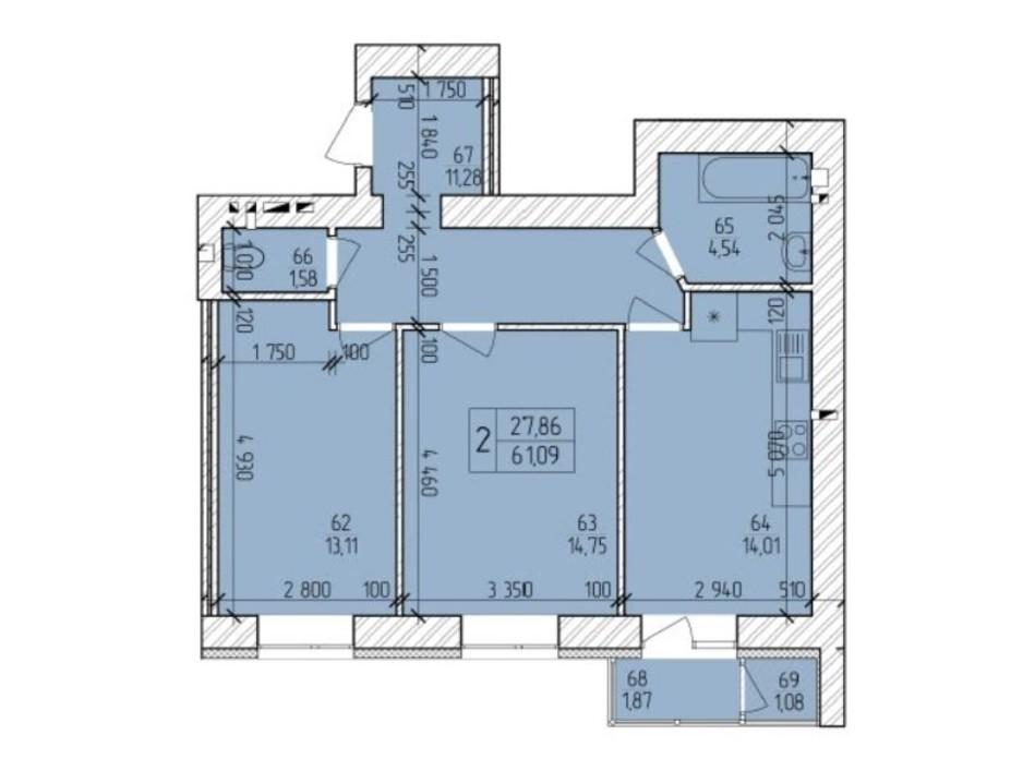 Планировка 2-комнатной квартиры в ЖК Ранкове Family 62.9 м², фото 203826