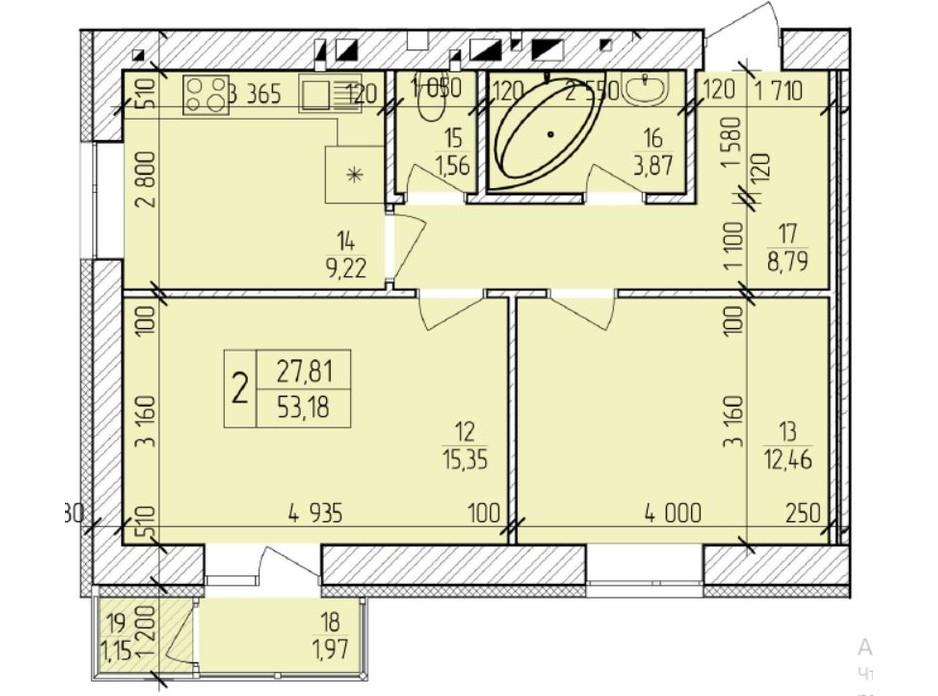 Планування 2-кімнатної квартири в ЖК Ранкове Family 54.55 м², фото 203829
