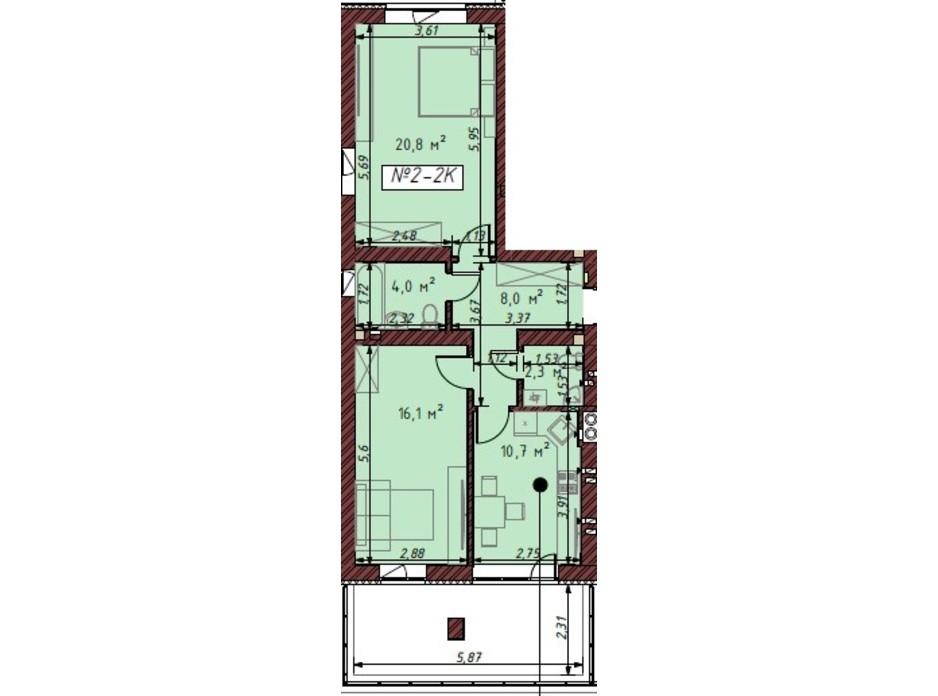 Планування 2-кімнатної квартири в ЖК Гостомельські Липки 5 62.3 м², фото 203862