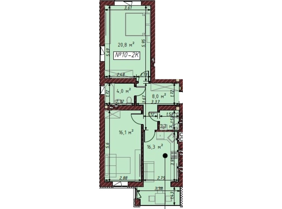 Планування 2-кімнатної квартири в ЖК Гостомельські Липки 5 67.7 м², фото 203870