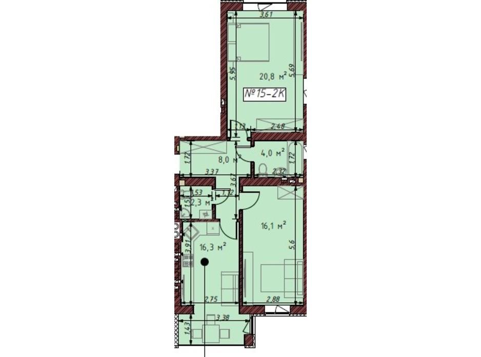 Планування 2-кімнатної квартири в ЖК Гостомельські Липки 5 67.7 м², фото 203874