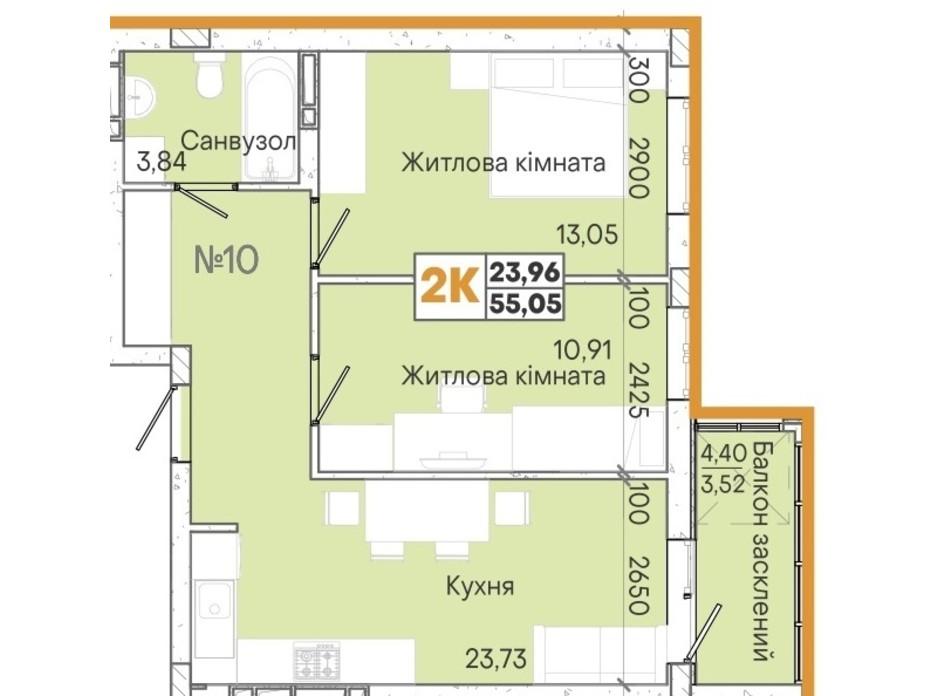 Планировка 2-комнатной квартиры в ЖК Акварель 7 55.19 м², фото 204120