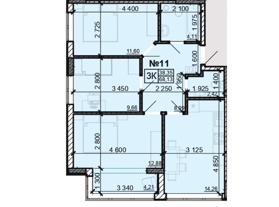 Планування 3-кімнатної квартири в ЖК Акварель 8 68.13 м², фото 204135