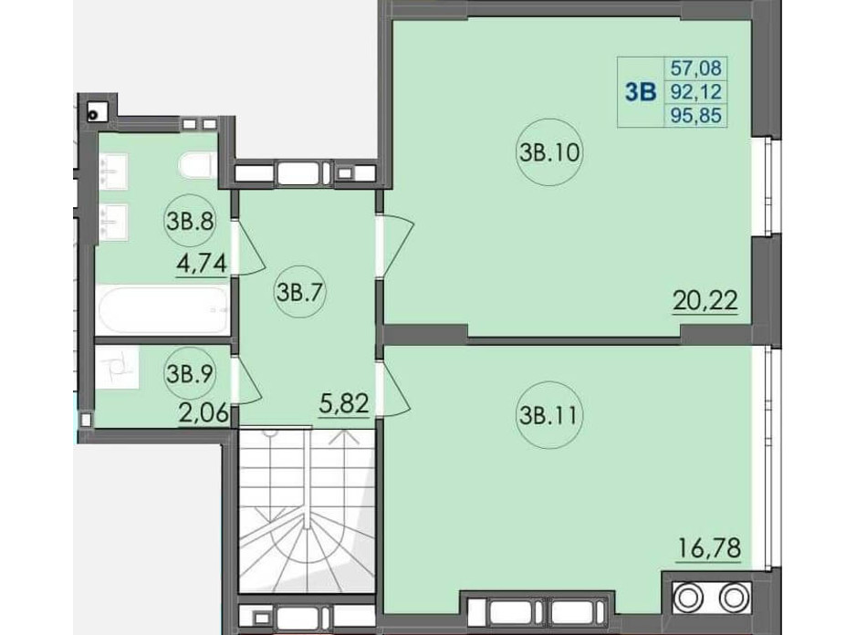 Планування багаторівневої квартири в ЖК Panorama 95.85 м², фото 204232