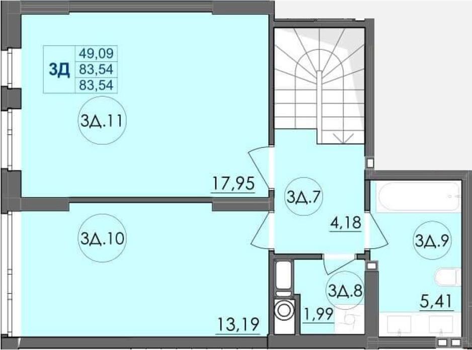 Планування багаторівневої квартири в ЖК Panorama 83.54 м², фото 204237