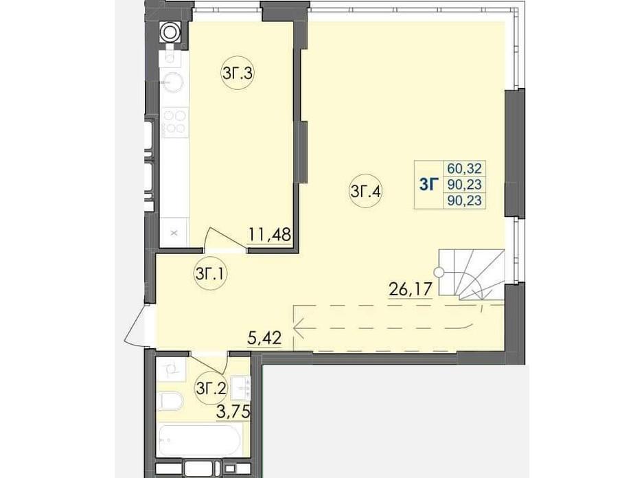 Планування багаторівневої квартири в ЖК Panorama 90.23 м², фото 204238
